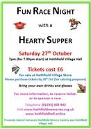 Fun Race Night with Hearty Supper Saturday 27 October 7pm Hothfield Village Hall