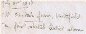 Photo:Inscription on reverse of the duck pond painting by M Harden