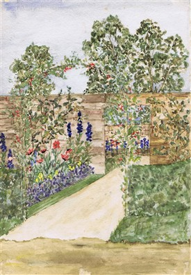 Photo:Watercolour of the Walled Garden at Hothfield Place