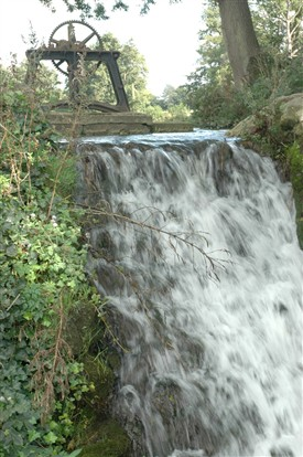 Photo:Sluice-gate outfall, which gives Waterfall Road its name.